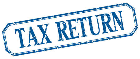 return: tax return square blue grunge vintage isolated label