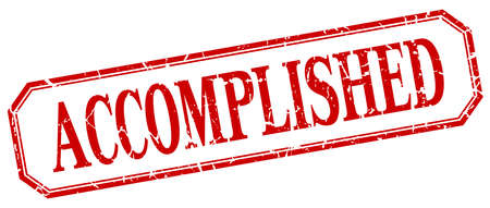 accomplished: accomplished square red grunge vintage isolated label