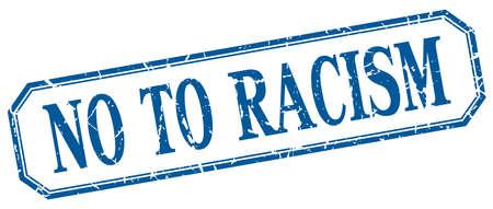 racismo: no a la etiqueta de aislados racismo cuadrada azul de la vendimia del grunge