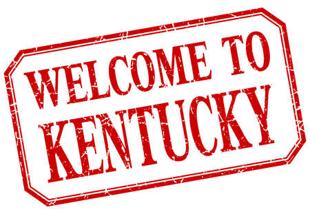 kentucky: Kentucky - welcome red vintage isolated label