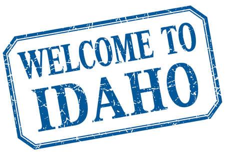 idaho: Idaho - welcome blue vintage isolated label