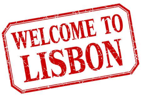 lisbon: Lisbon - welcome red vintage isolated label Illustration