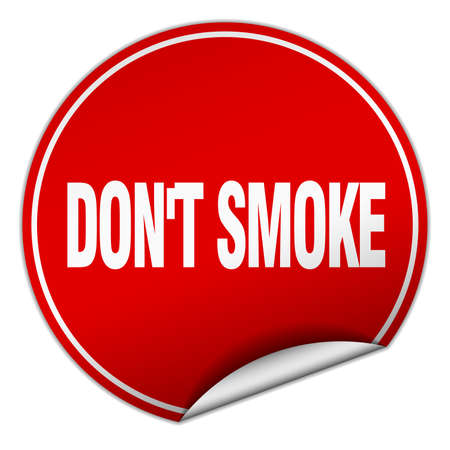 don't: dont smoke round red sticker isolated on white