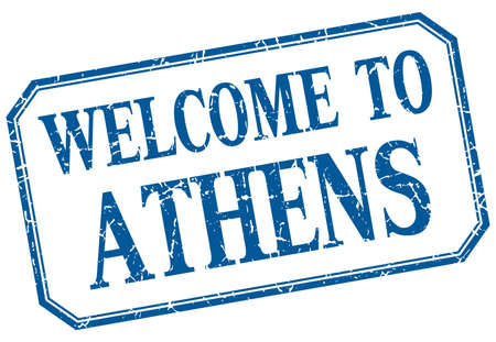 athens: Athens - welcome blue vintage isolated label