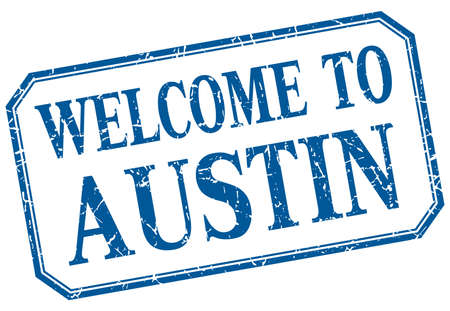 austin: Austin - welcome blue vintage isolated label