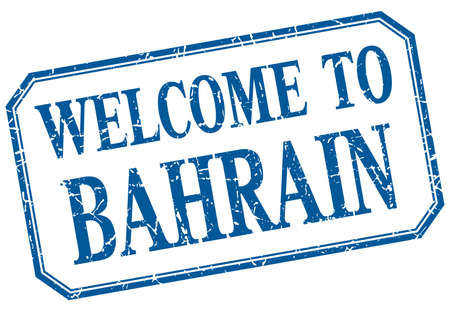 bahrain: Bahrain - welcome blue vintage isolated label