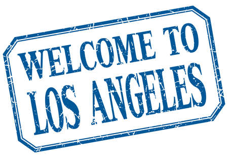 los angeles: Los Angeles - welcome blue vintage isolated label