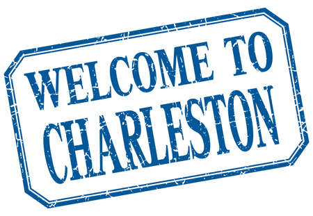 charleston: Charleston - welcome blue vintage isolated label