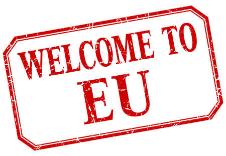 eu: eu - welcome red vintage isolated label