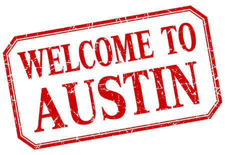 austin: Austin - welcome red vintage isolated label Illustration