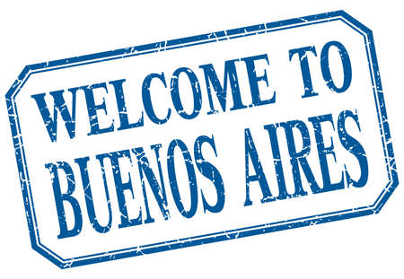aires: Buenos Aires - welcome blue vintage isolated label