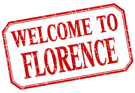 florence: Florence - welcome red vintage isolated label