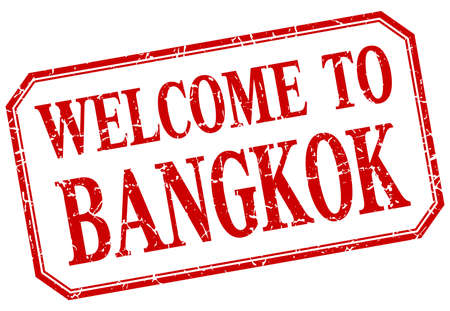 bangkok: Bangkok - welcome red vintage isolated label