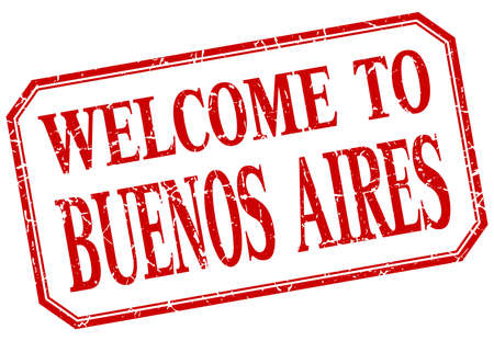buenos aires: Buenos Aires - welcome red vintage isolated label Illustration