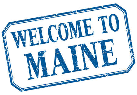 maine: Maine - welcome blue vintage isolated label