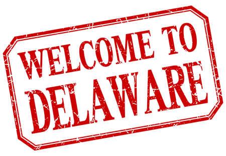 delaware: Delaware - welcome red vintage isolated label Illustration