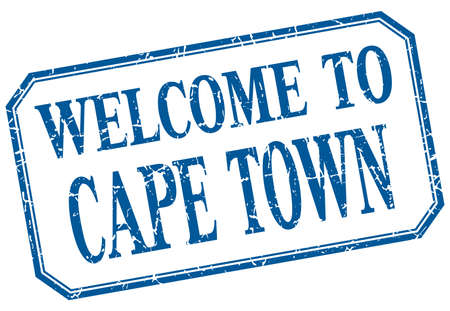cape town: Cape Town - welcome blue vintage isolated label Illustration