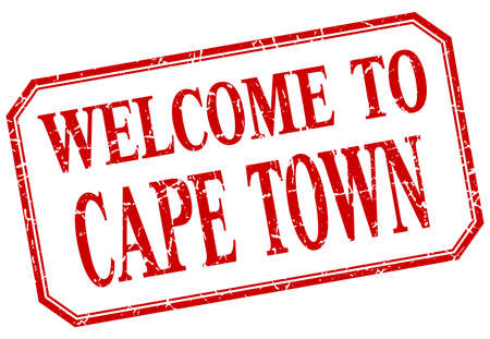 cape town: Cape Town - welcome red vintage isolated label Illustration
