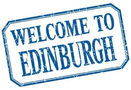 edinburgh: Edinburgh - welcome blue vintage isolated label Illustration