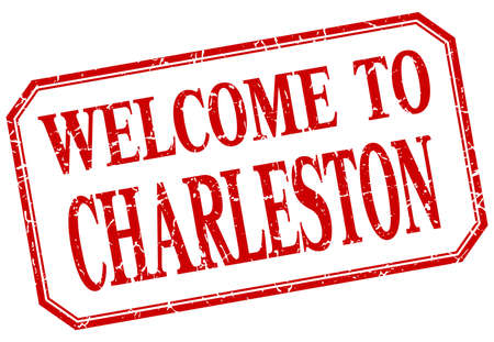 greet: Charleston - welcome red vintage isolated label