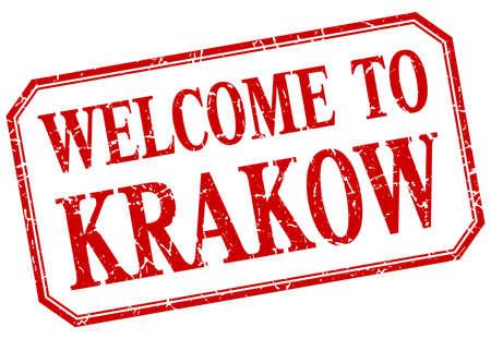 Cracovie - rouge vintage de bienvenue étiquette isolé Banque d'images - 48638546