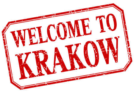Krakow - welcome red vintage isolated label Illusztráció
