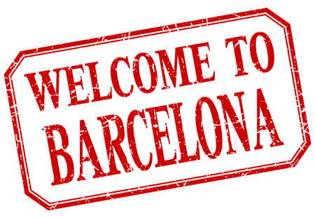 barcelona: Barcelona - welcome red vintage isolated label