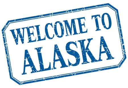 alaska: Alaska - welcome blue vintage isolated label Illustration