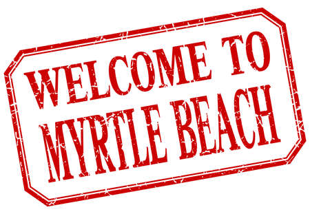 myrtle beach: Myrtle Beach - welcome red vintage isolated label