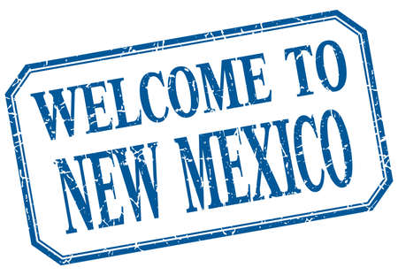 new mexico: New Mexico - welcome blue vintage isolated label