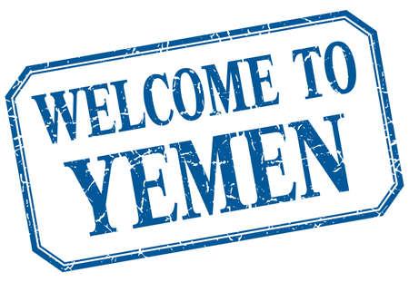 yemen: Yemen - welcome blue vintage isolated label Illustration