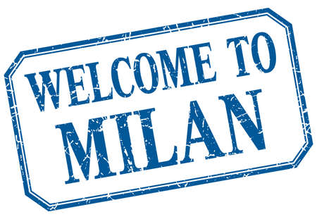 milan: Milan - welcome blue vintage isolated label