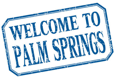 palm springs: Palm Springs - welcome blue vintage isolated label Illustration