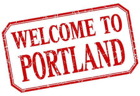 portland: Portland - welcome red vintage isolated label