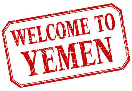 yemen: Yemen - welcome red vintage isolated label
