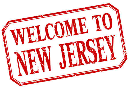 greet: New Jersey - welcome red vintage isolated label Illustration