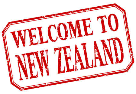new zealand: New Zealand - welcome red vintage isolated label