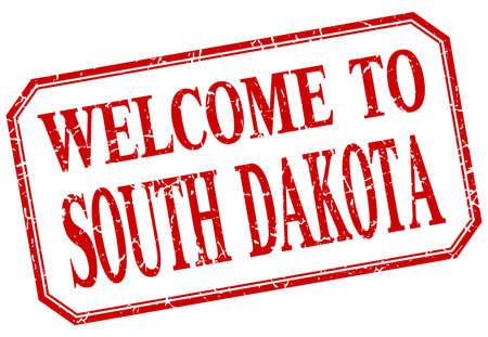 south dakota: South Dakota - welcome red vintage isolated label