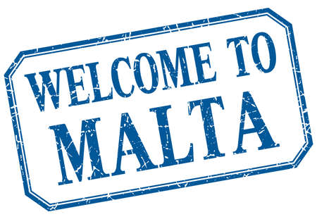 malta: Malta - welcome blue vintage isolated label Illustration