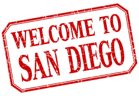 san diego: San Diego - welcome red vintage isolated label
