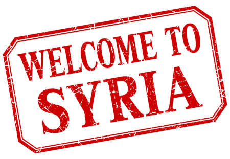 syria: Syria - welcome red vintage isolated label