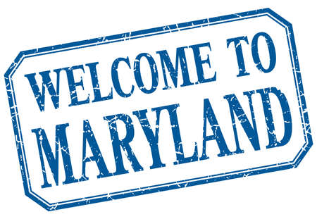 maryland: Maryland - welcome blue vintage isolated label