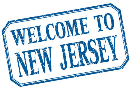 new jersey: New Jersey - welcome blue vintage isolated label