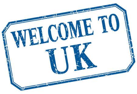 uk: uk - welcome blue vintage isolated label Illustration