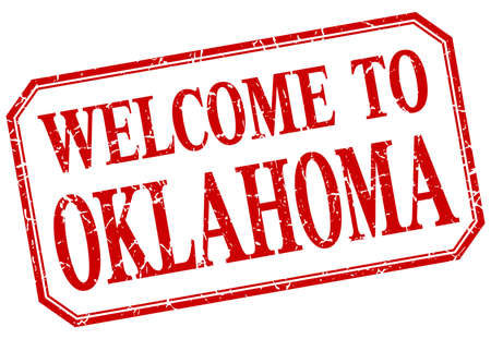 oklahoma: Oklahoma - welcome red vintage isolated label Illustration