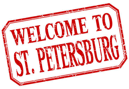 st petersburg: St. Petersburg - welcome red vintage isolated label