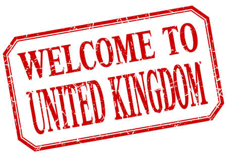united kingdom: United Kingdom - welcome red vintage isolated label