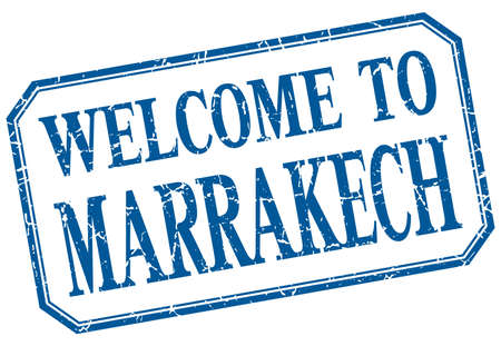 marrakech: Marrakech - welcome blue vintage isolated label