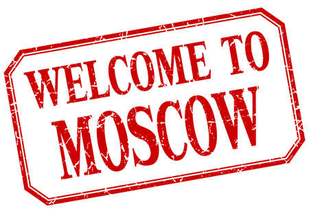 moscow: Moscow - welcome red vintage isolated label