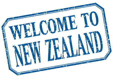 zealand: New Zealand - welcome blue vintage isolated label